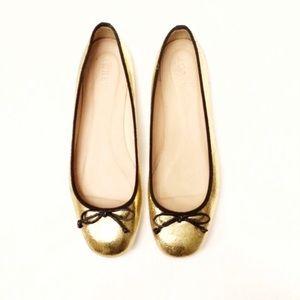 J. Crew Lily Gold Crackle Ballet Flats Sz 8.5